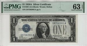 1928 A $1 SILVER CERTIFICATE NOTE FR.1601 GA BLOCK PMG CHOICE UNC 63 EPQ (801A)