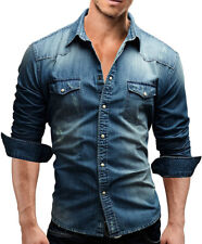 Mens Long Sleeves Denim Jeans Slim Fit Cotton Washed Two Pockets Shirts TAT6406