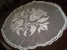 Antique handmade knitted cotton crochet filet tablecloth Figural elliptical