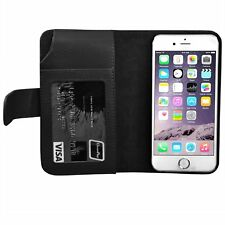 iPhone 6 Leather Wallet Purse Stand Case in Black - By TRIXES