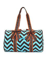 "18.0"" Quilted Chevron Print School Travel Duffel Bag Multi Color Blue Brown"