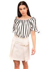 RRP€430 BRUNELLO CUCINELLI A-Line Skirt Size 42 M Linen Blend Leather Waistband