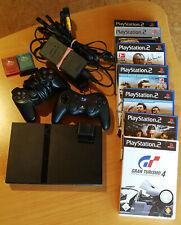 SONY PlayStation 2 slim, inkl. 7 Spiele, Speicherkarten und 2 Controllern