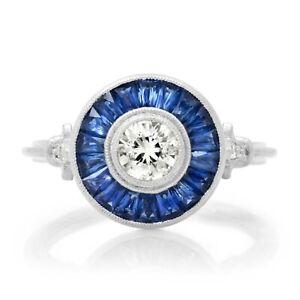 Diamond Blue Sapphire Platinum Ring Art Deco Handmade Vintage Antique Finish