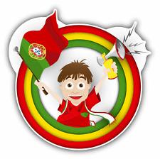 """Portugal Flag Soccer Fan Cartoon Car Bumper Sticker Decal 5"""" x 5"""""""