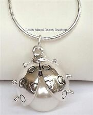 """Silver Pearl Ladybug Necklace 18"""" Pendant Lady Bug Insect Plated USA Seller"""