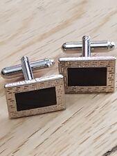 Designer Steel And Black Enamel Wedding Business cufflinks RECTANGULAR design