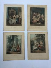 4 Rare Stipple Engravings By Louis Marin Bonnet Circa 1790