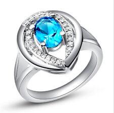 Fashion Women Jewelry Sky Blue Gemstones Wedding Engagement Party Ring Size:7