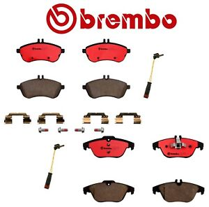 For Mercedes W204 C250 C300 Front & Rear Disc Brake Pads with Sensors Kit Brembo
