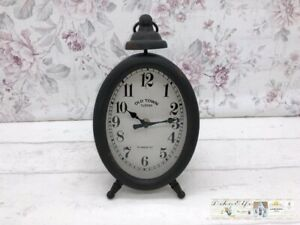 Decor Clock Floor Clock Oval Round Shabby Decoration Vintage Country House