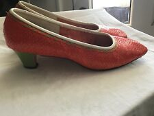 Vintage 1960's Orange Weave shoes with Green Heels by Connie, Tiki Mod