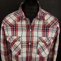 Levi's Mens Vintage Western Shirt MEDIUM Long Sleeve Red Check OXFORD Pearl Snap