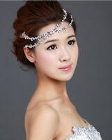 Elastic Women Fashion Metal Rhinestone Flower Headband Head Chain Hair Band
