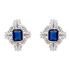 Italian Cubic zircon Earrings. Royal blue