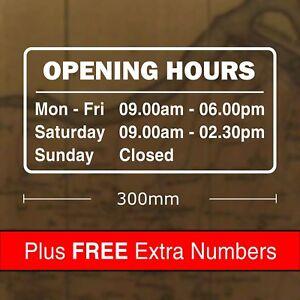 Custom Opening Hours Sticker Sign 300 x 150mm