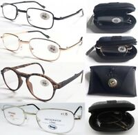 Quality Foldable Metal Or Plastic Reading Glasses + Easy Carry Case /+0.50~+4.00