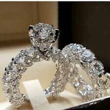 14K White Gold Over 2.0 Ct Round Diamond Engagement Bridal Ring Wedding Band Set