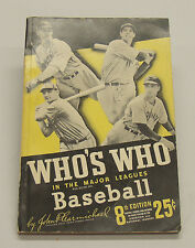 1940 Edition Who's Who In The Major Leagues Baseball Book.  8th Edition, Excelle