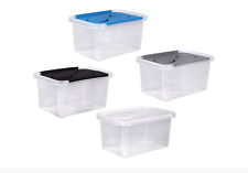 """Storage Box With Lids 9x6x4"""" Plastic Containers 3Qt with Split-Hinged Lids 12-PK"""