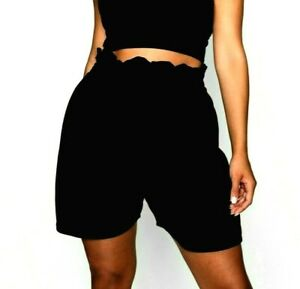 >> NEW 2021 Look PLUS Size SHORTS High WAIST Curve PAPERBAG Shorts MADE IN UK <<