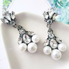Stunning vintage silver & white marquise crystal pearl statement bridal earrings