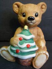 Homco Bear Holding Christmas Tree #5505 Euc Original Sticker