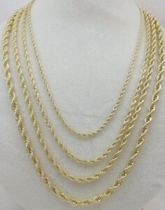 Real 14k Gold Filled Diamond Cut Twisted French Solid Rope Link Chain Necklace
