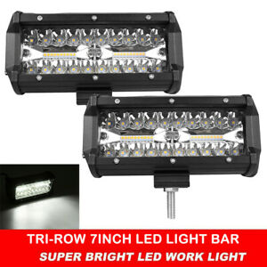 2x 7inch Tri-Row LED Light Bar Spot Flood Work Driving Lights Off-Road 4WD Truck