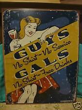 Tin Sign-Guys No Shirt No Service- Gals Free Drinks