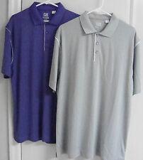 Nwot 2 Large Cutter & Buck Men's Short Sleeve Stripe Polo #Mck00683 Purple/Grey
