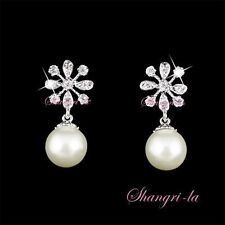 18K WHITE GOLD GP SNOW FLAKE PEARL EARRINGS FLOWER w/ SWAROVSKI CRYSTAL L249