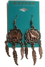 1 PAIR COPPER HOWLING WOLF DREAM CATCHER EARRINGS surgical steel earring wolves