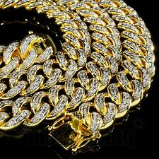 18K Gold Lab Diamond Cuban Chain Link Micro Pave Miami Bling Out Iced Necklace