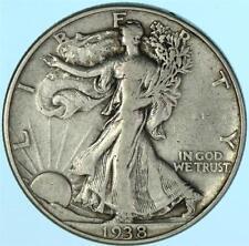 Key Date/Mint 1938-D Walking Liberty Half Dollar US 90% Silver Coin Lot E197