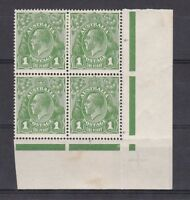G64) Australia 1924 KGV 1d green Single wmk 'Run N' in corner block of 4 M/MUH