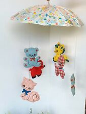 Vintage Musical Nursery Mobile #603 Dolly Toy 1960s/70s Gingham Animals Umbrella