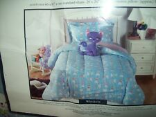 Twin Size Knit Kitty Comforter 1 Sham & Decorative Purple Matching Kitty Pillow