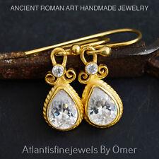 HANDMADE WHITE TOPAZ HOOK EARRINGS 24K GOLD VERMEIL STERLING SILVER BY OMER