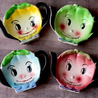Anthropomorphic Tea Bag Holder Vintage Japan Set Of 4