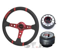 Mustang Jdmsport Deep Dish 100% Leather Steering Wheel Red+Hub+Quick Release Blk