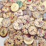 50Pcs Vintage Wooden Buttons Round 2-Holes Sewing Scrapbooking DIY 20mm #AM8X