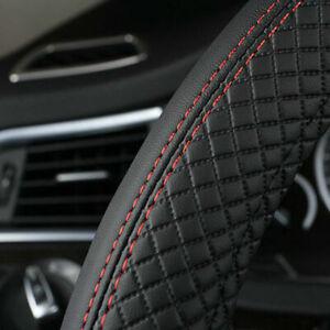 Black 38cm Universal Car Steering Wheel Cover PU Leather Anti-Slip Sport Style