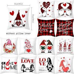 "18"" Valentine's Day Pillow Case Gnomes Peach Skin Throw Cushion Cover Sofa Decor"