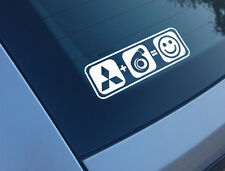MITSUBISHI PLUS BOOST EQUALS SMILES CAR STICKER DECAL FUNNY TURBO EVO 4 5 6 7 8