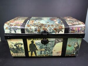 Large Trunk Chest Metal Decoupaged Shabby Chic Rustic war Related decoration