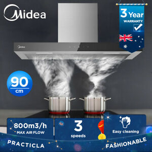 MIDEA 90cm Rangehood Stainless steel Kitchen Range hood BK glass control panel