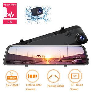 "2.5K Mirror Dash Cam GPS Voice Control Backup Camera12"" Touch Screen Dash Camera"