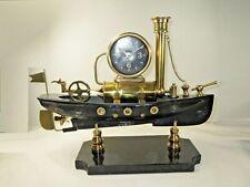 Pendulux Metal Large Steamboat mantel / shelf clock, marble base, steampunk boat