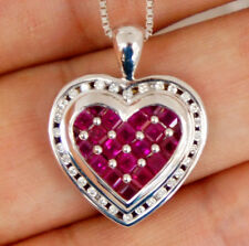 """Natural Red Ruby Heart Diamond Pendant 14K White Gold with 18"""" 14k Chain"""